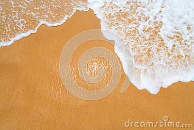 Sand clean beach background with waves