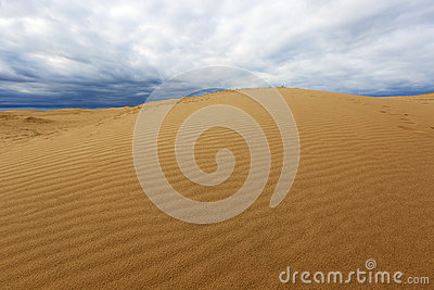 Sand desert  before thunderstorm