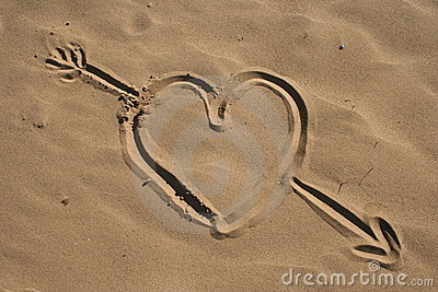 Sand drawn heart and arrow