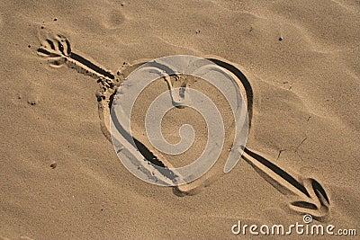 Sand drawn heart and arrow