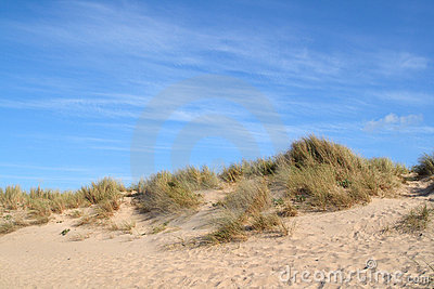 Sand dunes and a blue.