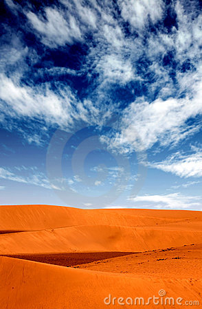 Sand dunes landscape with a blue sky