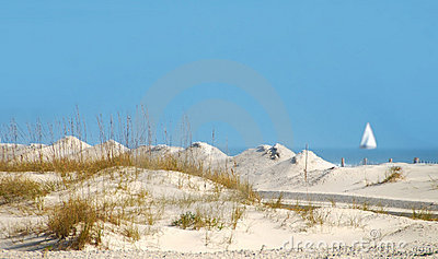 Sand Dunes and Sailboat