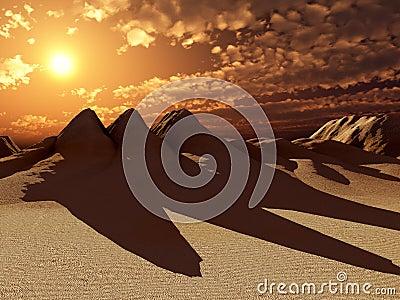 Sand Dunes With Sun