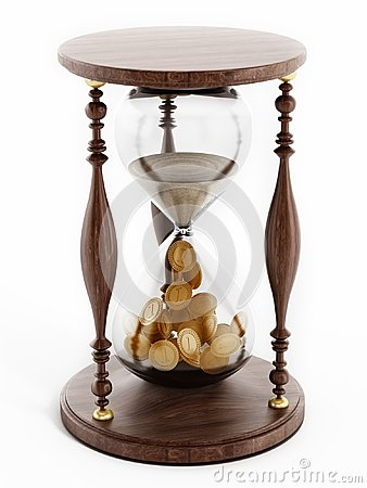 Free Sand In Hourglass Turning Into Gold Coins. 3D Illustration Stock Photography - 103583052