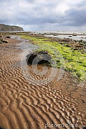 Sand patterns on Robin Hoods Bay beach