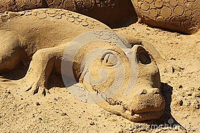 Sand sculpture alligator