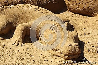 Sand sculpture alligator