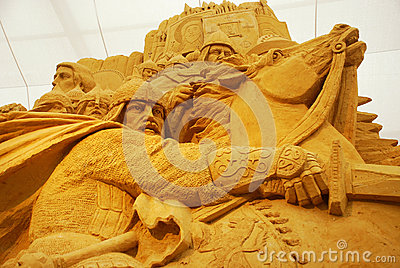 Sand sculpture of knightly battle Editorial Stock Photo