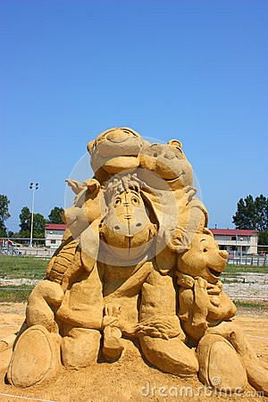 Sand sculpture of Winnie the Pooh Editorial Stock Photo