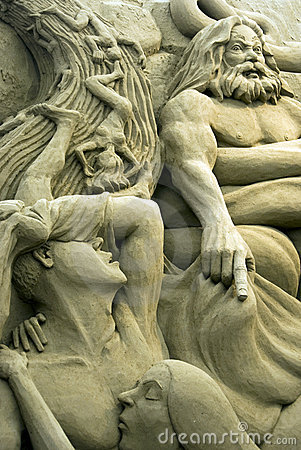 Sand Sculptures - Minos, judge of damned Editorial Stock Image