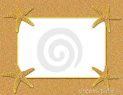 sand and starfish frame background