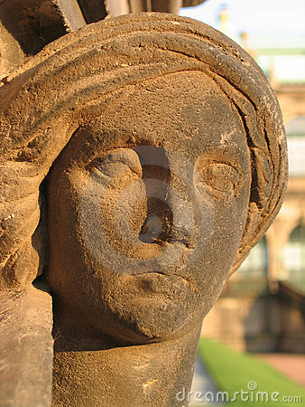 Free Sand Stone Woman S Head In Golden Light Royalty Free Stock Photography - 4402697
