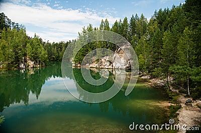 Sand stones and lake
