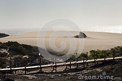 Sand storm at Guincho beach in Cascais, Portugal