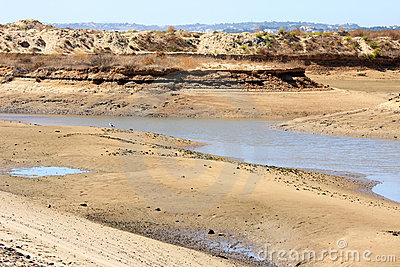 Sand, water and dunes of Ria de Alvor, Portugal