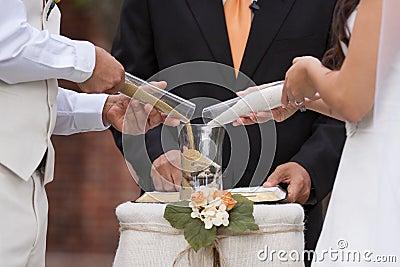 Sand wedding ceremony