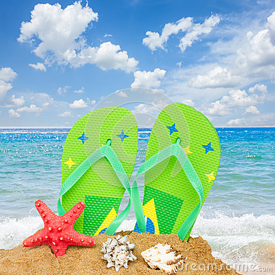 Free Sandals And Starfish In Sand Stock Images - 92403784