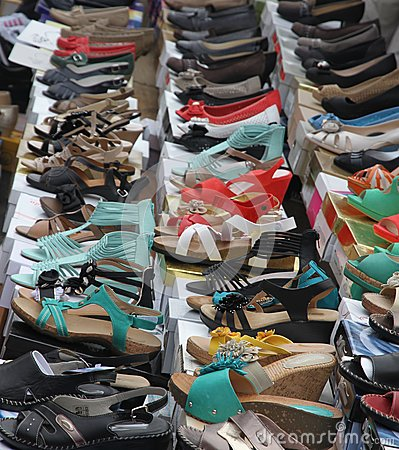 Sandals and shoes for trendy women sold at local market