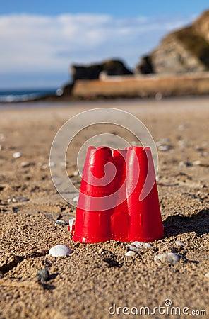 Sandcastle bucket beach sand Cornwall