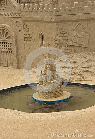 Sandcastle and pond