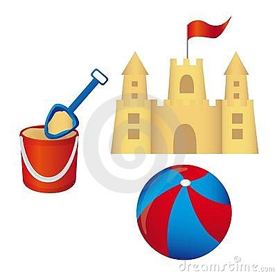 Free Sandcastle Set Vector Royalty Free Stock Photography - 22043177