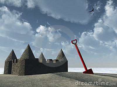 Sandcastle and spade