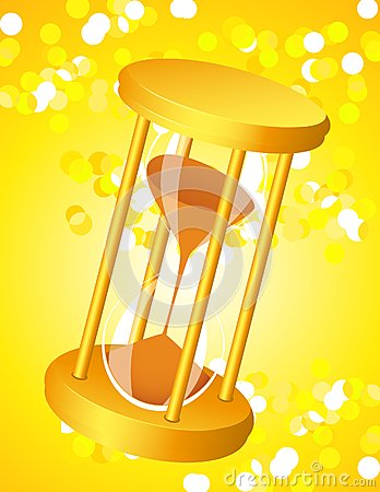 Sandglass on glare light background