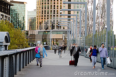 Sandridge Bridge - Melbourne Editorial Stock Photo