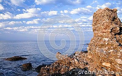 Sandstone cliff. Mediterranean Sea, Turkey
