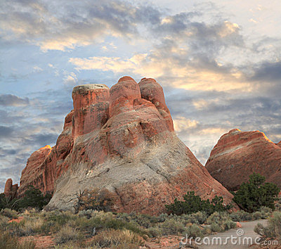Sandstone Formation, Arches National Park, sunset