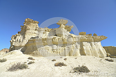 Sandstones Pillars known like the Enchanted city of bolnuevo in Spain