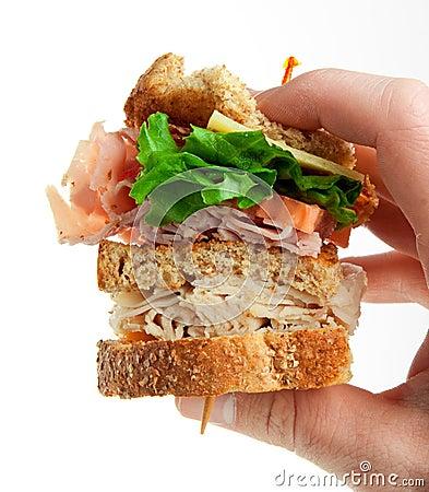Sanduíche de clube do supermercado fino