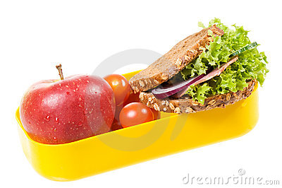 Sandwich with apple in box