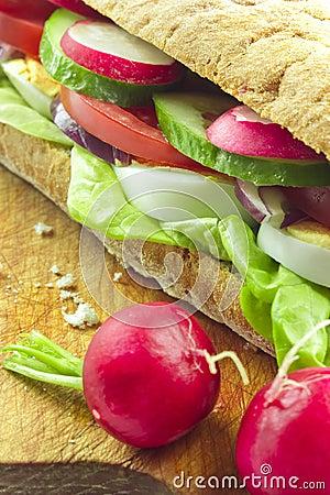 Sandwich on bread board