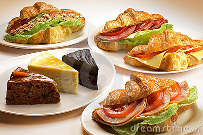 Sandwich and cakes