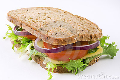 Sandwich with cheese, lettuce, tomato and onion