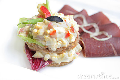 Sandwich with dry beef ham