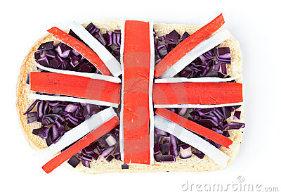 Sandwich with a flag of the Great Britain