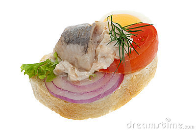 Sandwich garnish with fish