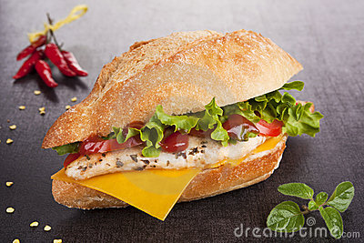 Sandwich with grilled chicken. Chicken sandwich.