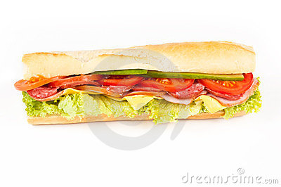 Sandwich with ham, salami, tomatoes