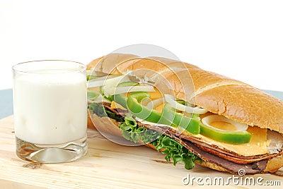 Sandwich and milk