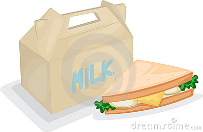 Sandwich And Milk Bag Stock Photo - Image: 16541720