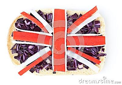 Sandwich mit einer Markierungsfahne Großbritanniens
