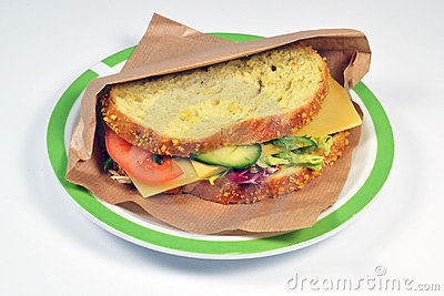 Sandwich with old cheese.