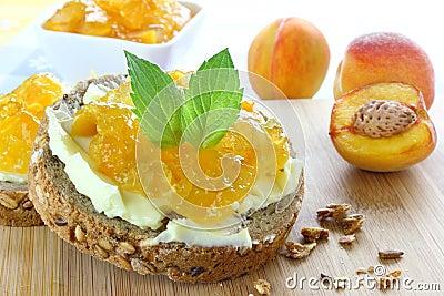 Sandwich with peach jam