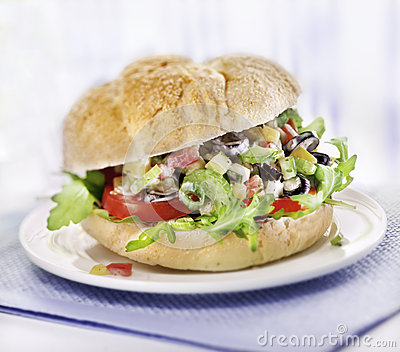 Sandwich with salad served