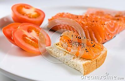 Sandwich with salmon.