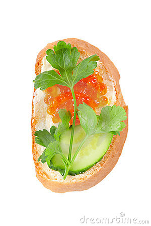 Sandwich with salmon roe